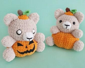 Pumpkin bear, fall decoration for Halloween or Thanksgiving, handmade crochet amigurumi with velvet yarn
