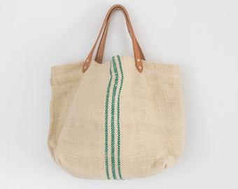 Vintage Linen Tote Bag: Mystic Mandala upcycled linen tea towel bag, SALE large tote Yellow bag statement bag beach bag shopping bag