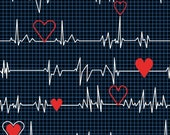 Windham - Calling all Nurses - Heart Beat - Black - Cotton Fabric by the Yard or Select Length 37302-1 photo