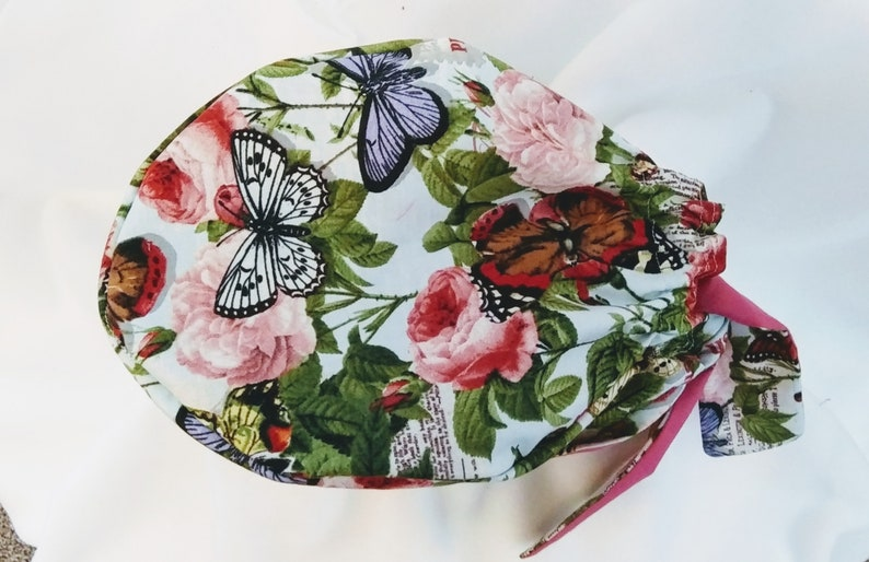 Butterflies and pink Surgical Scrub Cap
