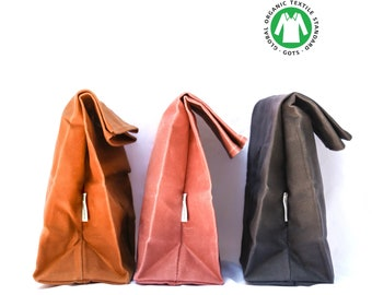 Canvas Lunch Bag  waxed and organic( Pink and Grey colors) ships without any plastic