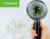 Mini Electric Hand Fan - 3 Speed USB Powered Handheld Cooler Battery Stand Desk Air Cooling Standing Home Office Not Bladeless Rechargeable