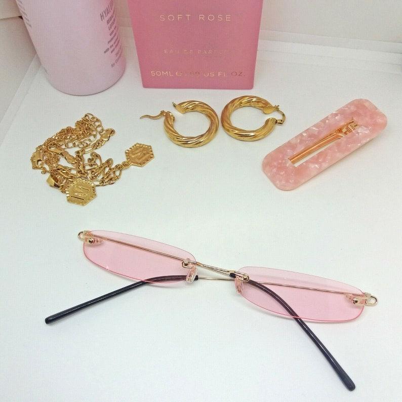 Retro Thin Sunglasses Vintage Frame Slim Glasses Narrow Skinny Party Fancy Dress 80s 90s Wide Hip Hop Festival Cat Eye Rimless Mens Womens