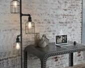 Retro Industrial Loft Style Water Pipe Floor Lamp. Iron art decoration standard lamp living room bedroom study reading lights