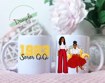Personalized Sisters in Yellow and Red Mug Gift, HBCU, College, University, Soro Gift, Sister Gift, Best Friend Gift, Teacher Gift