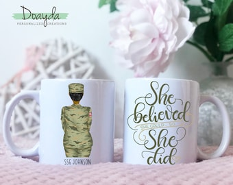Female Soldier Mug, Female Veteran, She Believed She Could So She Did, Army, Military, Soldier Gift