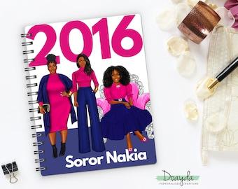 Personalized Christian Sisterhood Inspired, 2016 Notebook Journal, Sorority, Fuchsia Navy Blue Soror, African American, Sorority Gift