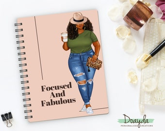 Focused And Fabulous Notebook Journal, Planner, Inspirational Self Love Reflection