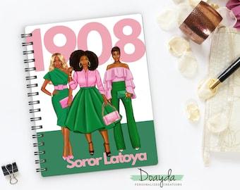 Personalized Sisters in Pink & Green, 1908 Notebook Journal, Sorority, HBCU, Soror, African American, Sisterhood Gift, Sorority Gift
