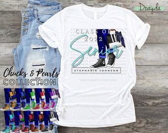 Personalized Class Of 2022 Grad Tee, Senior 2022, Chucks & Pearls Collection