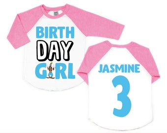 pink or yellow. Goofy Personalized Birthday Shirt in White blue