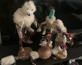 Navajo Kachina Dolls Vintage Indian Rain Dancers Signed Authenticated Collectable Figurines