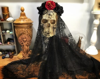 Dark Goddess Hekate Ritual Veil- Beautiful, Handcrafted Black Lace Veil for Hekate Witches