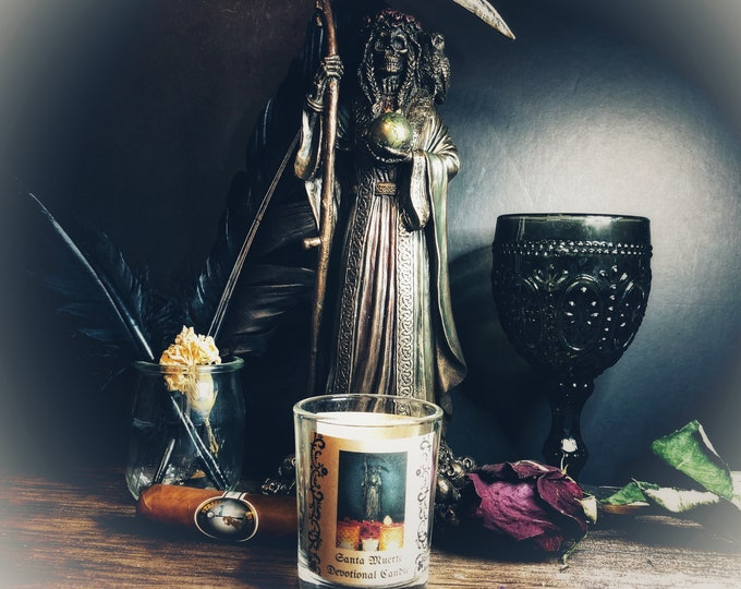 Santa Muerte Purify/All-Purpose Votive Candle & Herb Sachet Set- White Unscented Candle For Petitioning Santa Muerte