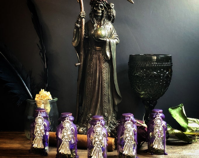 Santa Muerte Healing & Transformation Offering Bottle With Instruction Card and Protection Petition To Santa Muerte