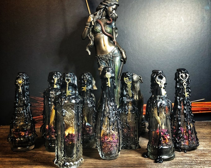Hekate Witch's Protection Bottle- Dark Goddess Protection Altar Bottle- September New Moon Edition