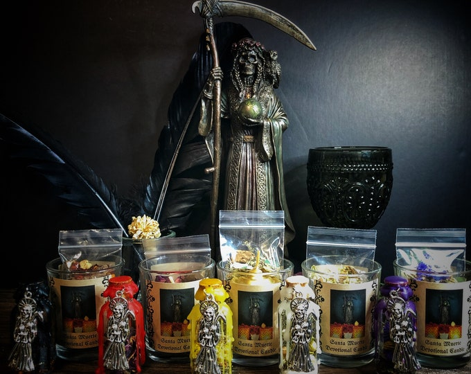 Santa Muerte Offering Bottle & Votive Candle Set- Available in Protection, Purification, Love, Success, and Healing
