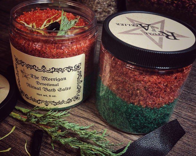 The Morrigan Ritual Dual-Toned Bath Salts- 8 oz - Increase Your Feminine Warrior Spirit- Now Available In A Scrub