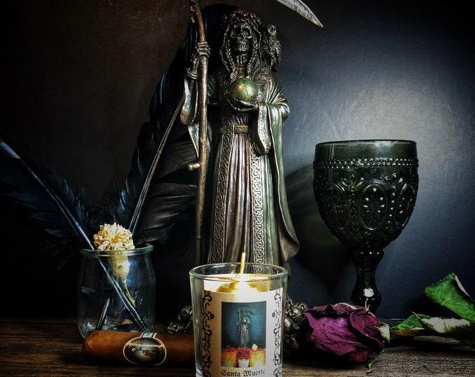 Santa Muerte Success/Money Votive Candle & Herb Sachet Set- Gold Unscented Candle For Petitioning Santa Muerte