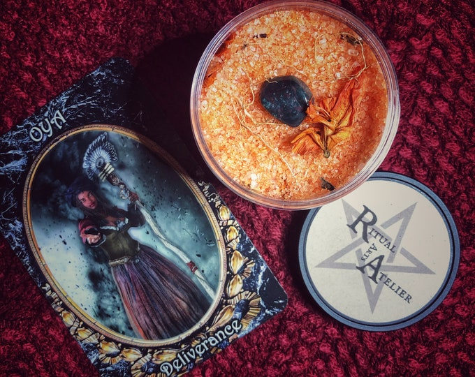 Orisha Oya Ritual Bath Salts- 8 oz - Empowering Soak for Before or after Ritual- Also Available In A Shower Scrub