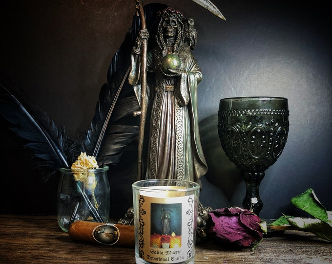 Santa Muerte Protection Votive Candle & Herb Sachet Set- Black Unscented Candle For Petitioning Santa Muerte Protection