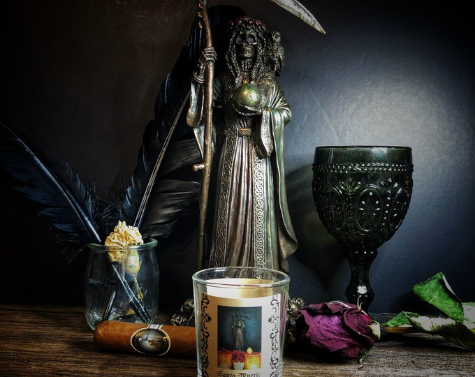 Santa Muerte Healing and Transformation Votive Candle & Herb Sachet Set- Purple Unscented Candle For Petitioning Santa Muerte