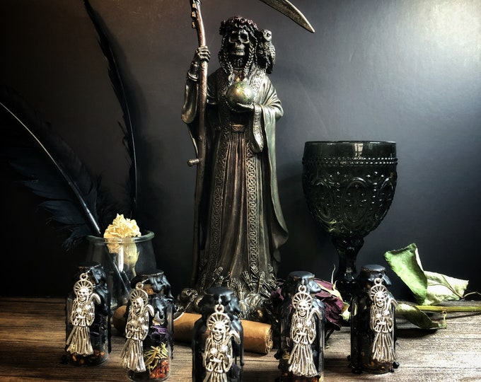 Santa Muerte Protection Offering Bottle With Instruction Card and Protection Petition To Santa Muerte