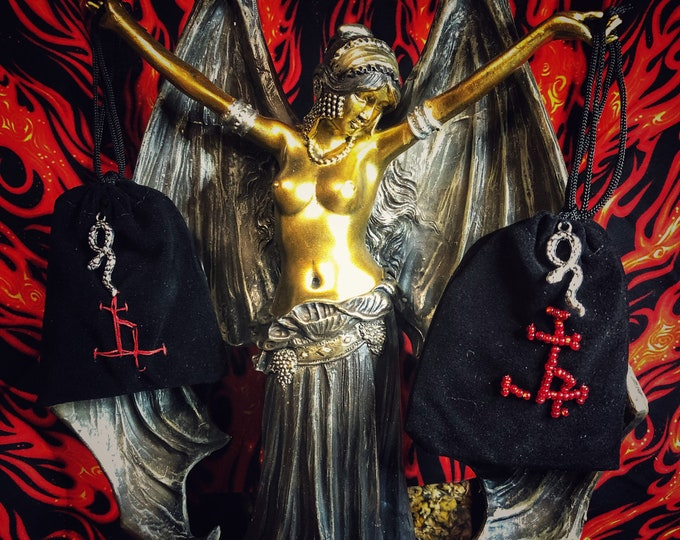Lilith Devotional Protection/Love Sachet- Available in Embroidered or Beaded- Gris-Gris Bag, Amulet, Talisman