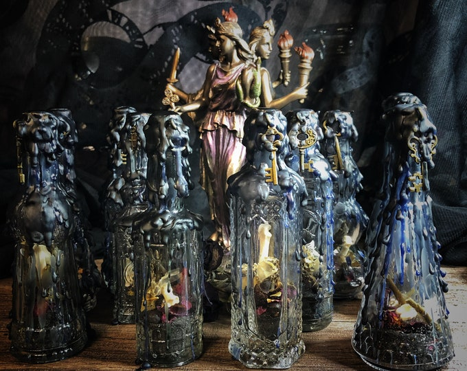 Hekate Witch's Protection Bottle- Dark Goddess Protection Altar Bottle- January 2021 New Moon Edition
