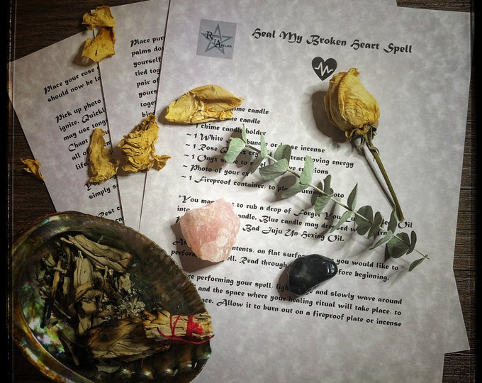 Heal My Broken Heart Spell- Download Book of Shadows Spell Sheets- Get Over Ex, Ease Sadness, Open Heart To New Love
