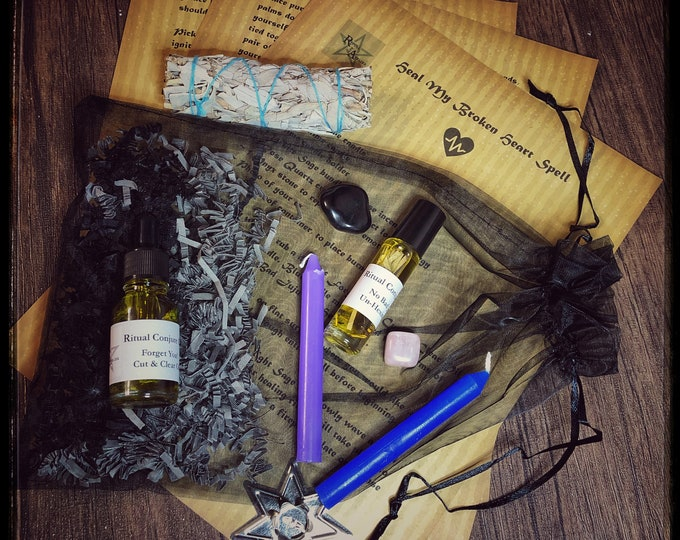 Heal My Broken Heart Spell Kit- Full Ritual Kit To Perform Spell- Repel Breakup Depression- Remove Ex From Your Thoughts
