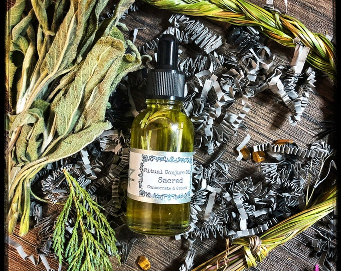 Sacred Consecrate & Ground Ritual Conjure Oil- Consecrate Ritual Tools- Use to ground yourself for ritual, meditation or spell work