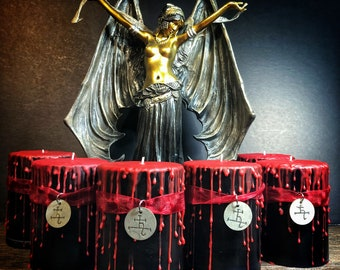 """Lilith Blood Drip Ritual Candle with Sigil Charm- 4""""X3"""" Black and Red Unscented Candle- LIMITED SUPPLY"""