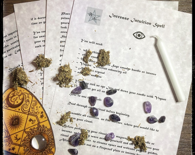 Increase Intuition Spell- Download Book of Shadow Spell Sheets- Actual Candle Magick Spell- For Empaths, Mediums, Clairvoyants
