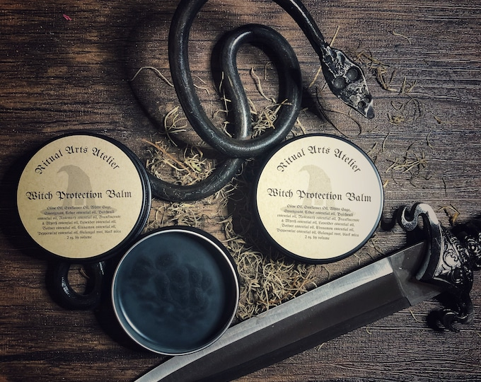 Witch Protection Balm- 2 oz tin- Potent Protection Balm for Witches, Ritual Magicians and Occultist- Botanical Blend