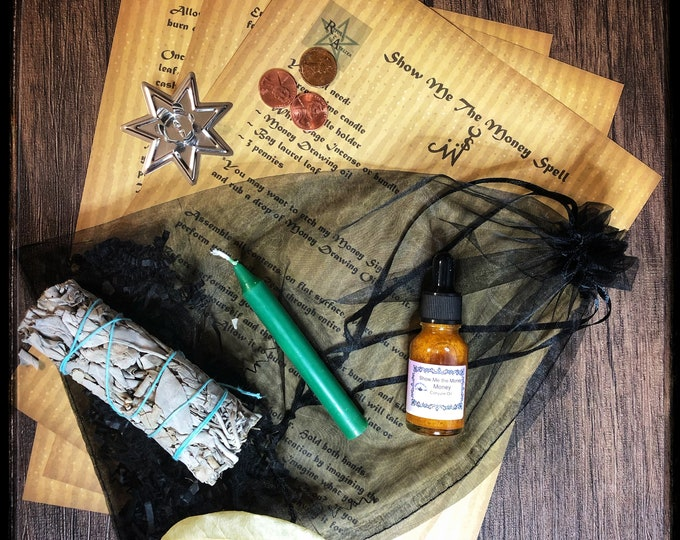 Show Me The Money Spell Kit- Full Ritual Kit with Tools Needed To Perform Spell- Get Quick Cash- Increase Sales- Get A Pay Raise