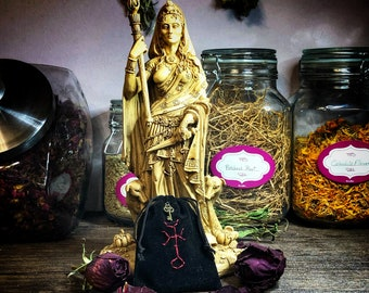 Hekate Protection Charm Bag with FREE 1.5 oz Hekate Black Salt- Hand Embroidered With Protection Spell by Hekatean Witch