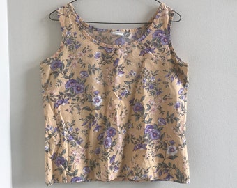 vintage 90s top navy blue rayon floral print grunge shirt blouse crop top tank S small clothing