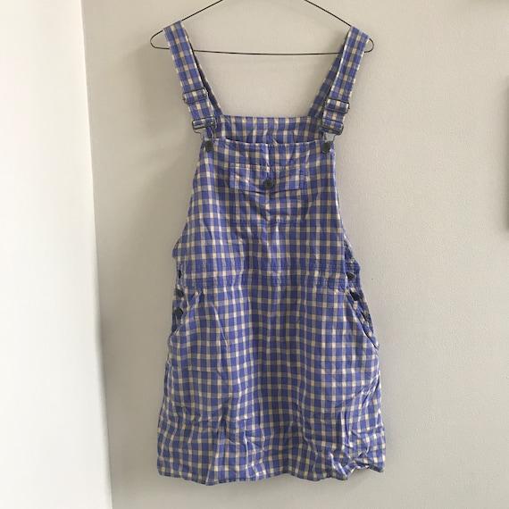 90s Liz Sport Petite pastel plaid overall dress