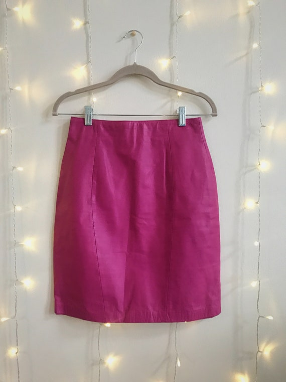80s hot pink leather high waisted mini skirt