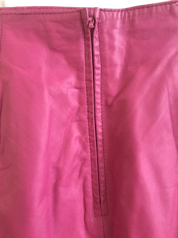 80s hot pink leather high waisted mini skirt - image 4