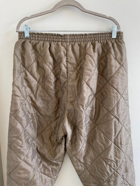 Vintage 60s/70s brown quilted nylon insulated pan… - image 6