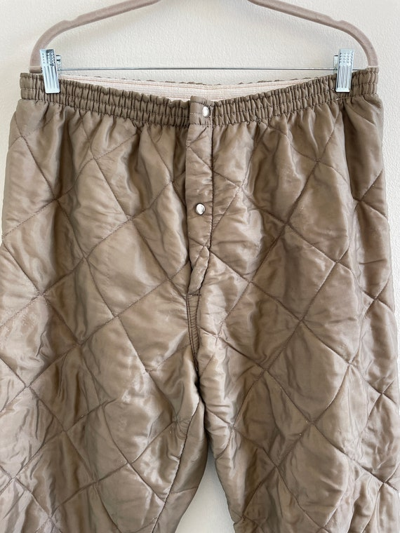 Vintage 60s/70s brown quilted nylon insulated pan… - image 2
