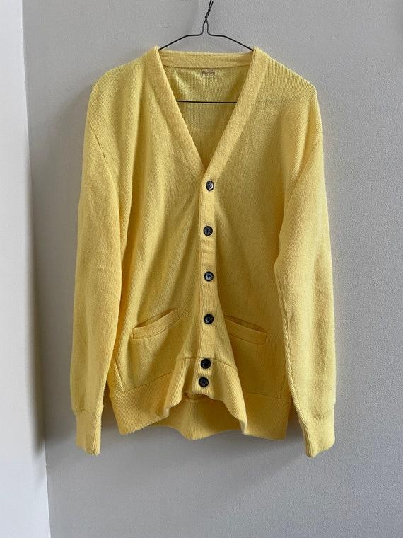 1960s Jantzen Cardigan Mustard Yellow Letter Cardigan