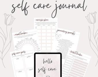 Self Care Journal + Planner   A4 PDF Instant Digital Download   Mindfulness Mental Health Self Love Mind Body + Soul Pretty Minimal Bujo