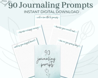 90 DAYS OF JOURNALING   Digital Download, Instant Printable, Daily Journaling Prompts. For Goodnotes + Notability