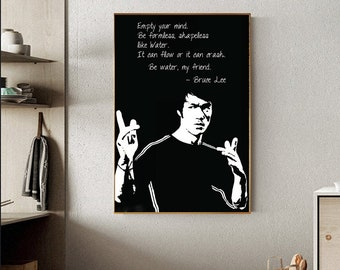 Bruce Lee A0 vintage quote Canvas print film poster art print signed kung fu