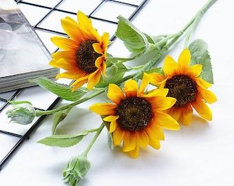 Mini silk sunflower bush in yellow gold. Mini Silk Sunflower Bush in Yellow Gold 10.25 Tall