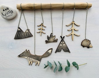 Mobile aus Holz Windspiel Holzmobile Tiere des Waldes