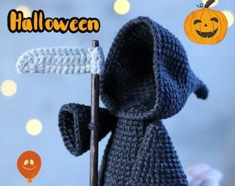 Grim Reaper crochet pattern . Halloween amigurumi . Diy halloween decor . Creepy easy crochet pattern .
